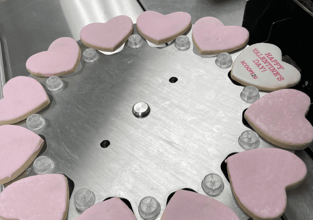 Heart shaped imprinted cookies on cookie printer